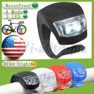 4PCS Black Silicone LED Bike Light Bicycle White Lamp Waterproof Head