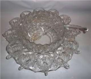 Indiana Glass LOTUS Thumbprint Punch Bowl Set 12 Cups, Bowl, Under
