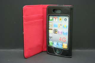 New Black/Red Leather Wallet Case for iPhone 4 4s US seller