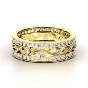 Sea Spray Band, 14K Yellow Gold Ring with Diamond & White
