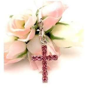 Pink Crystal Cross Cell Phone Charm Strap Cubic Stone