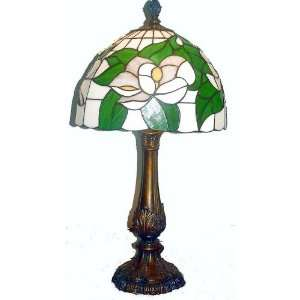Tiffany table lamp cast metal body glass shade