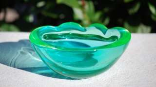 Beautiful Blue Green Murano Glass Cigar Cigarette Ashtray Bowl Changes