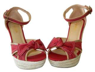 Adorable Canvas Bow Ankle Strap Espadrille Wedge Sandal Red