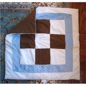 Baby Blanket  Bubble Squares Chocolate & White with Blue trim Baby