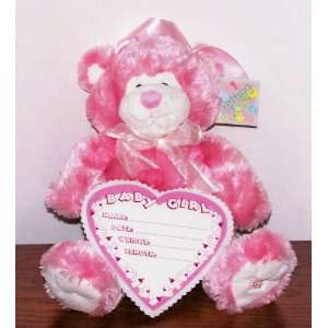 Large `Baby Girl Pink Plush Musical Teddy Bear w/ Dry erase