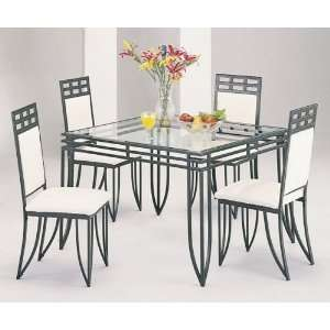 Matrix Metal Square Dining Room Table Chairs Set Furniture & Decor