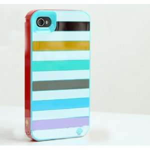 (Blue Stripe )Kate Spade 3 Layers Case Foriphone 4 / 4gs