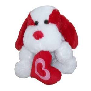 Long Red White Floppy Puppy Dog Plush Toy with Heart Toys & Games