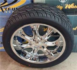 22 INCH RIMS WHEEL TIRE PKG DEEP LIP 5X127 5X135 V725