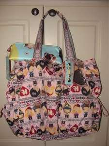 HARAJUKU LOVERS LOLLIPOP NORDIC CUTIES PINK TOTE BAG & COSMETIC PENCIL