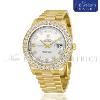 PAVE SET DIAMOND ROLEX DAY DATE PRESIDENT II 41MM YELLOW GOLD WATCH