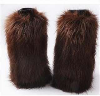 Womens coffee Faux Fur Winter Leg Warmer Boots Sleeve Cover