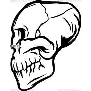 SIDE FACE CRACKED SKULL WITH NO TEETH SKULL 10 WHITE VINYL DECAL