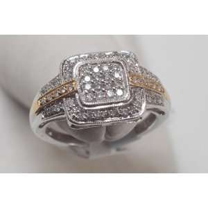 Diamond &Two Ton Gold Engagment Ring Square Shape Jewelry