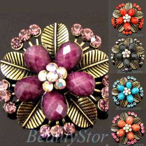 Item  1 pc antiqued rhinestone flower brooch pin