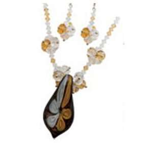 Fashion Jewelry ~Murano Glass Deluxe Set ~ Brown White Flower Murano