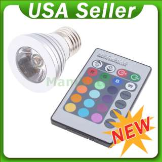 16 Color RGB LED Light Flash Bulb Change Lamp Remote Control Home Xmas