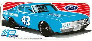 VINTAGE RICHARD PETTY 1969 FORD TORINO COBRA #43 CAR DECAL NASCAR