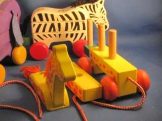 Melissa & Doug Wooden Pull Along Zoo Animals Toy #276