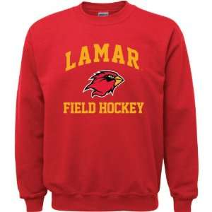 Lamar Cardinals Red Youth Field Hockey Arch Crewneck