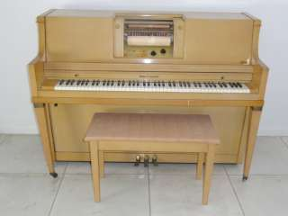 KOHLER & CAMPBELL SPRUCE ROLL PLAYER PIANO & BENCH