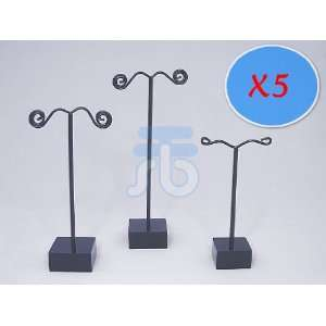 Pack of 15 Jewelry Earring Tree Display Stands (Black Pole