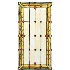 Craftsman 30W Rectangle Tiffany Style Stained Art Glass Window Panel