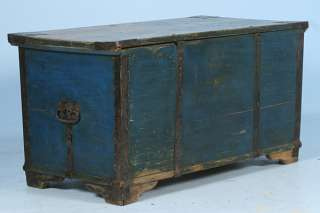 Hand Painted Blue Russian Trunk Chest Floral Motif Circa 1890