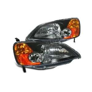 Euro Headlights Black / Amber 01 03 Honda Civic