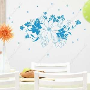 Custom Color   Free Squeegee  Beautiful flowers   removable vinyl art