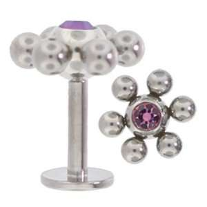 Orbital Surgical Steel Labret Lip Ring LT AMETHYST CZ Gem Jewelry