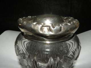 ANTIQUE AMERICAN BRILLIANT CUT GLASS DRESSER JAR WITH STERLING