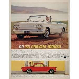 1963 Ad Red White Chevy Corvair Monza Convertible Coupe