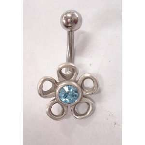 Sky Blue Gem Flower Silver Belly Ring