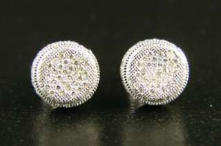 MENS/LADIES ROUND 3D DIAMOND PAVE 10 M STUD EARRINGS