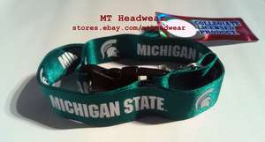 LICENSED NCAA LANYARD *MICHIGAN STATE UNIVERSITY SPARTANS* KEYCHAIN