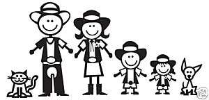 Western Cowboy Stick Figure Family Decal