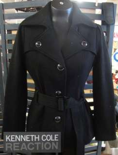 Kenneth Cole Reaction Womens BLACK Trench Coat #2 SMALL NWT