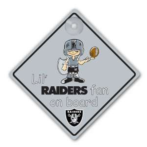 Oakland Raiders NFL Lil Fan on Board Sign  Sports