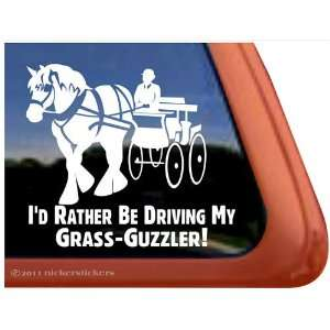 Grass Guzzler Draft Horse Driving Horse Trailer Vinyl Window Decal