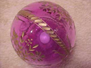 RUSSIA ST PETERBURG Crystal Hand Cut Glass Egg PURPLE