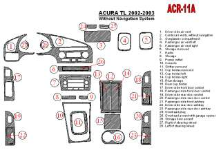 Acura TL Wood Chrome Dash Trim Kit Parts 02 03