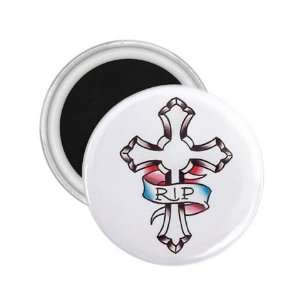 Tattoo Cross RIP Art Fridge Souvenir Magnet 2.25 Free