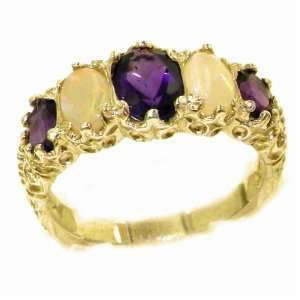 Victorian Style Solid Hallmarked Yellow Gold Amethyst & Opal Ring