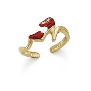 14k Red Enamel High Heel Toe Ring   JewelryWeb Jewelry