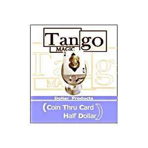 Coin thru Card Half Dollar Tango Trick Magic Coins Bill