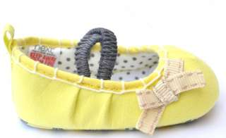Yellow bow Mary Jane toddler baby girl shoes size 2 3 4