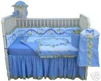 CHIC Blue Floral Chenille Blue Moon Crib Set Baby NEW
