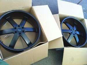 28 BLACK U2 55 RIMS TIRE PKG 6X139 ESCALADE CHEVY GMC